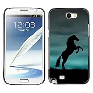 All Phone Most Case / Hard PC Metal piece Shell Slim Cover Protective Case Carcasa Funda Caso de protección para Samsung Note 2 N7100 mustang stallion horse black blue powerful