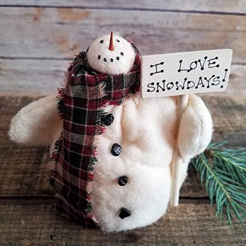 I Love Snow Days Primitive Farmhouse Snowman Home Decor Shelf Sitter Art Doll 4 Inches Tall]()