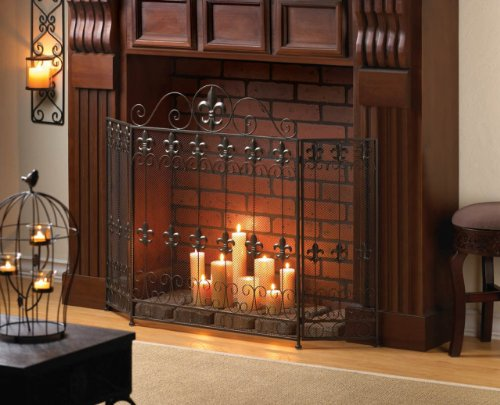 (Modern Fireplace Screens Three Panel Bronze Rustic Decorative Wrought Iron Spark Guard Antique Mesh Screen)