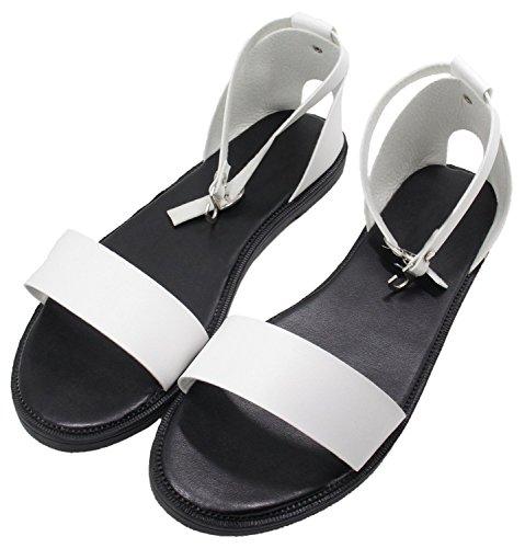 Peep Sandales Blanc Simple Boucle Toe Femmes Flats HooH OzqAAF
