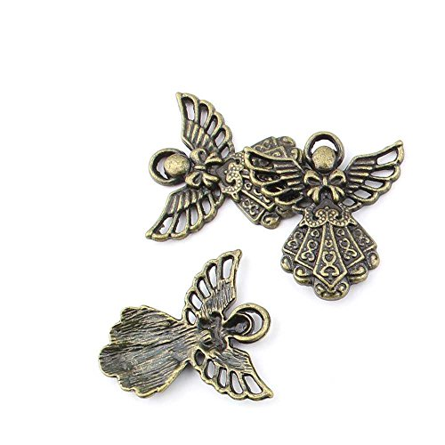 40 pieces Anti-Brass Fashion Jewelry Making Charms 2622 Bow Tie Angel Wholesale Supplies Pendant Craft DIY Vintage Alloys Necklace Bulk Supply Findings -
