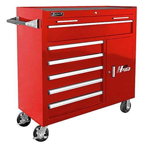 Homak H2PRO Series 41-Inch 6-Drawer with 2-Drawer Compartment Roller, Red, ()