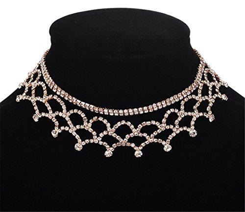 P.Phoebus 18K Yellow Gold Necklace Choker Statement Bib White Swarovski Crystal Rhinestone Charms Pendant for Women ()