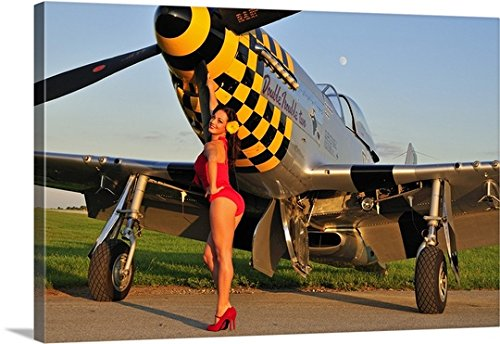 Christian Kieffer Gallery-Wrapped Canvas entitled 1940's style pin-up girl posing with a P-51 Mustang by greatBIGcanvas