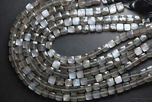 JP_BEADS 8'' Strand Full Fire AAA Black Grey Moonstone Faceted Cube, Size 7-8mm
