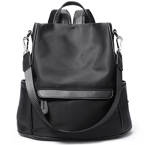 Women Backpack Purse Nylon Fashion Casual Shoulder Bag Lightweight Water Resistant School Backpack black by Cluci
