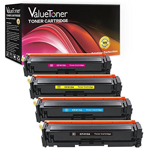 ValueToner Compatible HP 410A CF410A CF411A CF412A CF413A Toner Cartridge for HP Color LaserJet Pro MFP M477fdw, M477fdn, M452nw, M452dw M452dn, MFP M477fnw, 4 Pack (Black, Cyan, Magenta, Yellow)