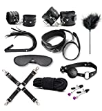 10 Set Sexy Sex Toys Tools Handcuffs Ankle Cuffs Leather Flogger Whip Cortical Feather Racket Lingerie Adult Toy For Couples Lovers Play BDSM SM Restraining Straps Thigh Game