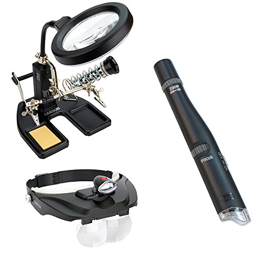 Carson Pro Series SolderMag Magnifier Lamp w/ Lighted Head Visor Magnifier & MicroPen Lighted Microscope Pen (Carson Pro Series Magnifier compare prices)