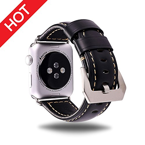 Global Series Leather (For Apple Watch Band Black 38MM Genuine Leather Strap Wristband for Replacement iWatch Strap with Comfortable Durable Stainless Metal Clasp Classic Buckle Wrist Watch Strap)