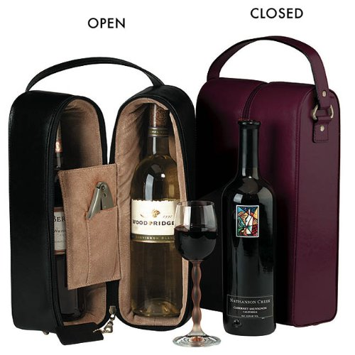 Royce Leather Double Wine Presentation Case - Genuine Leather (Burgundy) Burgundy Leather Presentation Case
