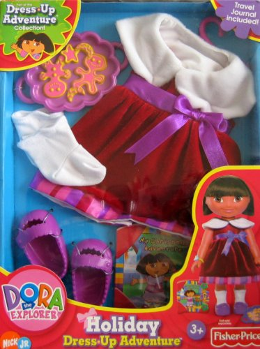 Dress Up Adventure Dora - HOLIDAY Fashions w Travel Journal (Dora Dress Up Doll)