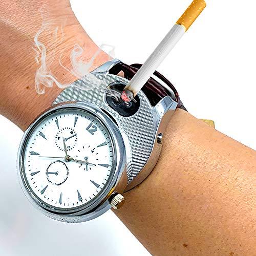 Silver Timepiece - ArcWatch Men's Stylish Flameless Windproof USB Cigarette Lighter/Watch | Tesla Arc Ignition | Quartz Timepiece (Brown Leather Strap, Silver Bezel)