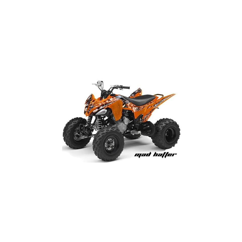 AMR Racing Yamaha Raptor 250 ATV Quad Graphic Kit   Madhatter Orange, Silver
