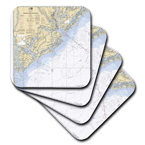 3dRose CST_204862_3 Print of Charleston Harbor Nautical Chart Ceramic Tile Coaster (Set of 4)
