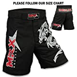 Mrx MMA Fight Shorts Stretch Penals Black with Dragon Unisex Training Trunks (Medium)