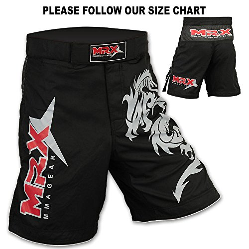 Mrx MMA Fight Shorts Stretch Penals Black with Dragon Unisex Training Trunks