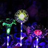 Gold Happy Solar Multi-Color Changing LED Flower Stake Light Transparent Pole Holiday Lights Decorative Lamp
