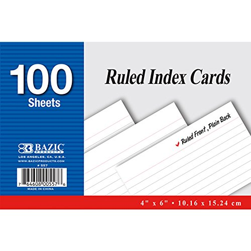 New 402242 100 Ct. 4 Inch X 6 Inch Ruled White Index Card (24-Pack) Writing Materials Cheap Wholesale Discount Bulk Stationery Writing Materials Index Cards