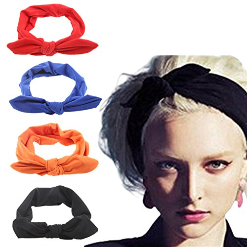 (DRESHOW 4 Pack Turban Headbands for Women Hair Vintage Flower Printed Cross Elastic Head Wrap)