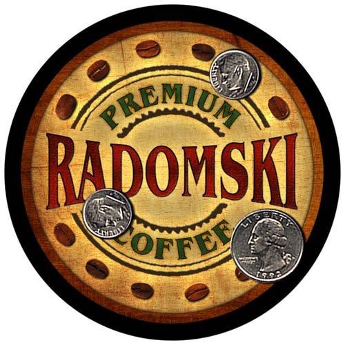 Radomski Family Name Coffee Rubber Drink Coasters - 4 pcs