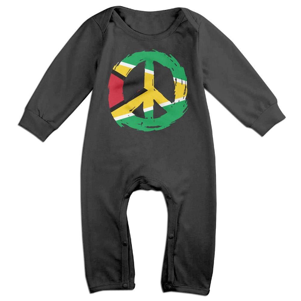 Mri-le1 Newborn Kids Long Sleeve Jumpsuit Guyana Flag Peace Baby Rompers