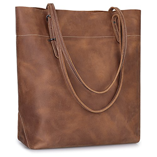 S-ZONE Women's Vintage Crazy Horse Leather Work Tote Shoulder Bag Large Capacity Upgraded 2.0 Version