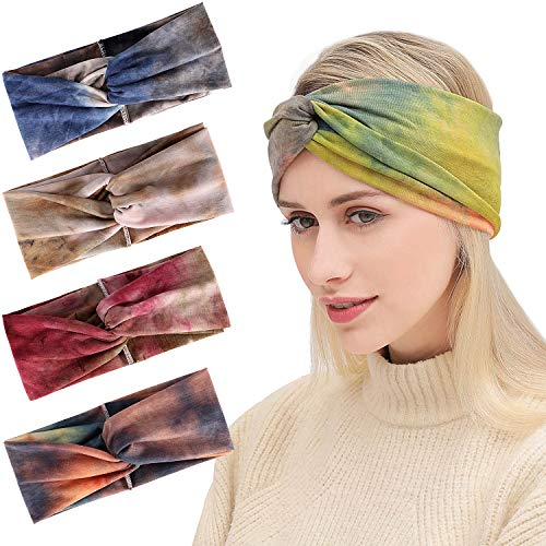 (Onshine 4pcs Women Headband Cute Fashion Yoga Running Sport Athletic Travel Headband Comfort Turban Criss Cross Twisted Head Wrap Hair Bands for Women (4pcs Tie-dye Headbands))