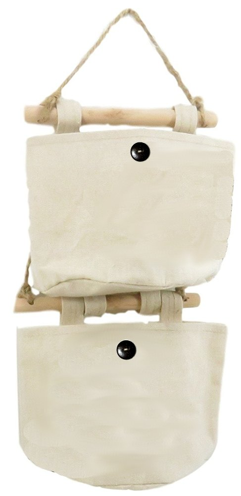 Fabric Linen Wall Door Closet Storage Hanging Bag Organizer Office Art Supplies 7.5 x 6 Beige (Set of 2)