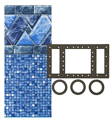 - SmartLine Stone Harbor 12-Foot-by-24-Foot Oval Liner | UniBead Style | 52-Inch Wall Height | 25 Gauge Virgin Vinyl | Designed for Steel Sided Above-Ground Swimming Pool | Universal Gasket Kit Included