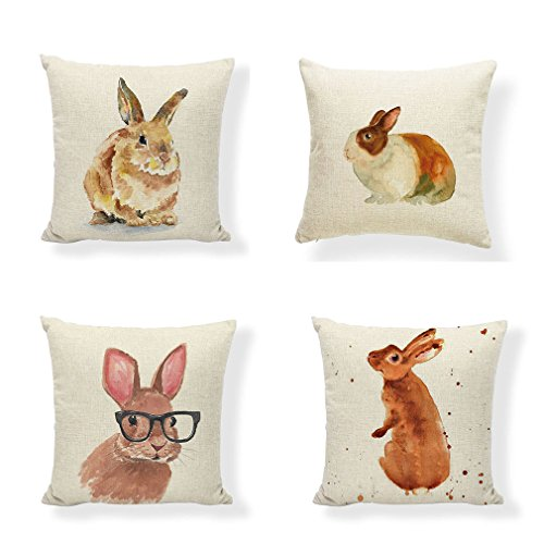 PSDWETS Easter Rabbit Home Decor Pillow Covers Set of 4 Cotton Linen Cute Bunny Throw Pillow Case Cushion Cover 18 X 18 -