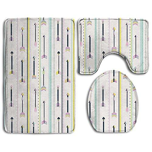 Guiping Geometric Pattern Colored Peak Borders Of Dots Arrows And Lines Art Bathroom Rug Mats Set 3 Piece,Funny Bathroom Rugs Graphic Bathroom Sets,Anti-skid Toilet Mat Set