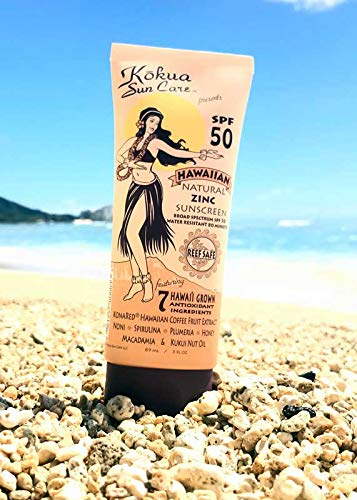 Kokua Sun Care Hawaiian Natural Zinc Sunscreen SPF 50/80 Minutes Water Resistance (Best Physical Sunscreen For Melasma)