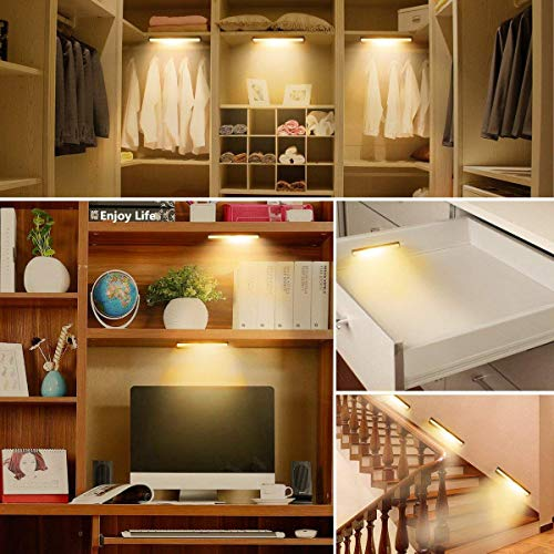 Motion Sensor Cabinet Light,Under Counter Closet Lighting, 10 LED Wireless USB Rechargeable Kitchen Lights,Battery Operated Lights,Stick On Lights for Wardrobe,Closets,Cupboard,Warm White-2Pack