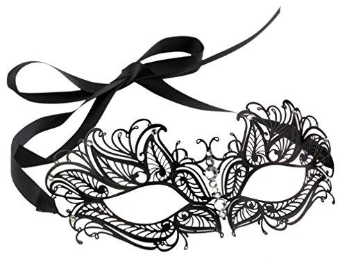 [Beautiful Black Laser Cut Filigree Venetian Mask] (Mascarade Mask)
