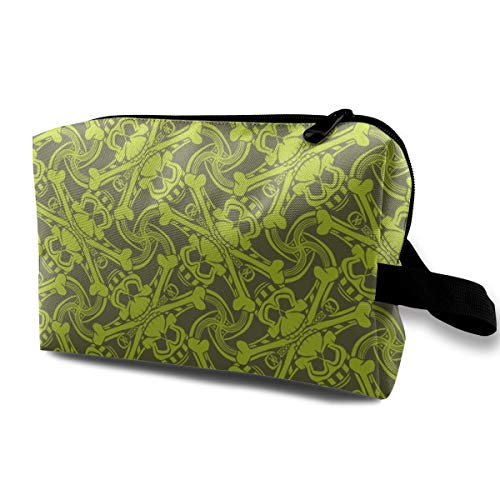 (PIRATE SKULL PLAID Olive And Lime Green Toiletry Bag With Zipper Cosmetics Make Up Tools PU Womens Girls Dark Blue)