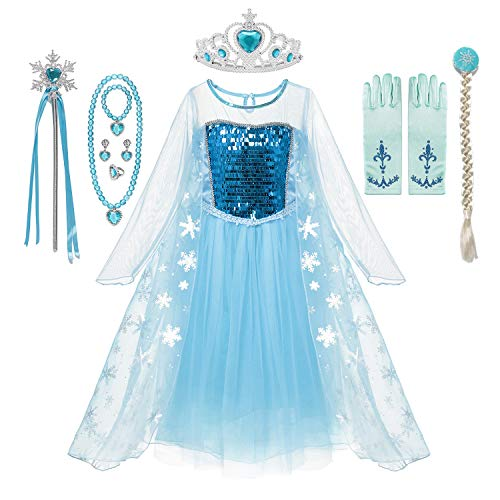 MUABABY Girls Ice Snow Queen Sequin Princess Upgrade Deluxe Costume Long Sleeve Elsa (712 Blue, 9-10 Years)