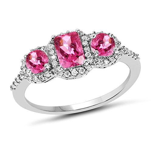 - 1.29 Carat Genuine Pink Tourmaline & White Diamond 10K White Gold Ring