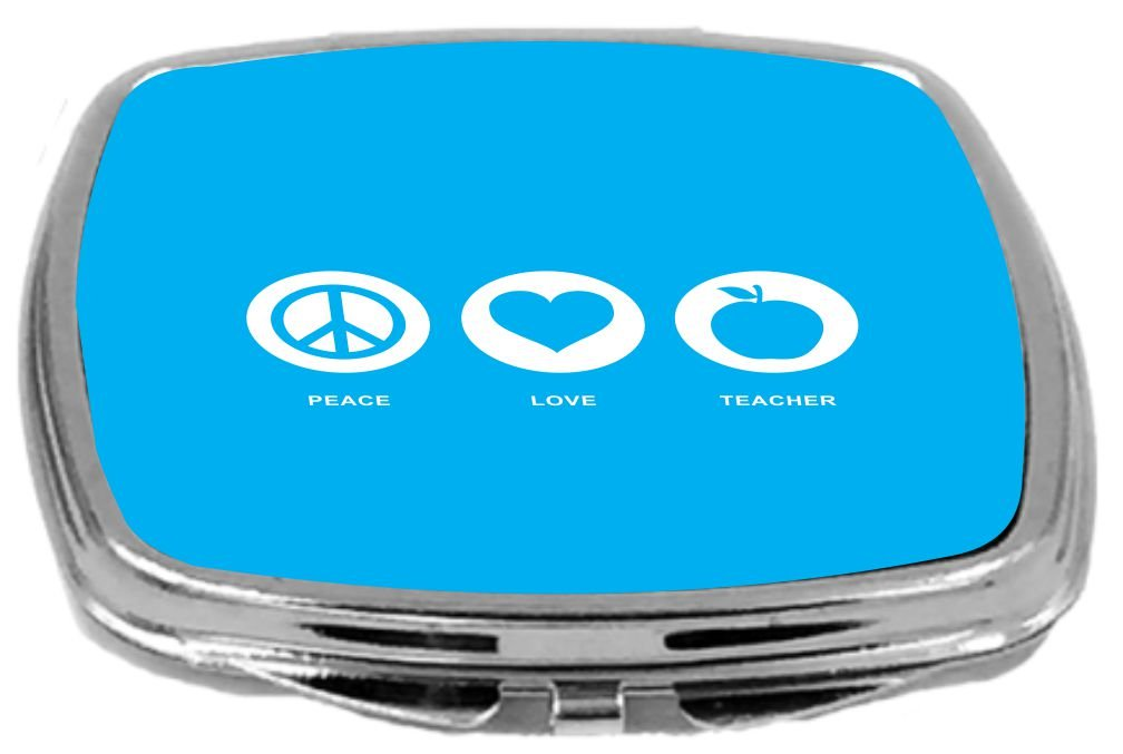 Rikki Knight Peace Love Teacher Design Compact Mirror 2 Ounce Sky Blue