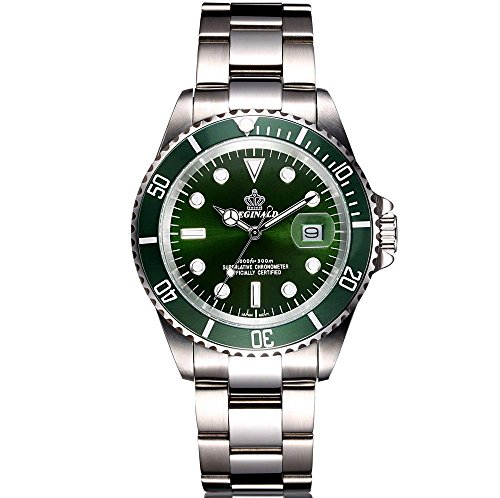 Men's Luxury Business Watch Rotatable Bezel Sapphire Glass Stainless Steel Quartz Wrist Watch Date Calendar (Green) (Bezel Calendar Wrist Watch)