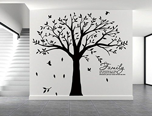LUCKKYY Grant Family Tree Wall Decal with Family Like Branches on a Tree Quote Wall Decal Tree Wall Sticker (83'' Wide x 83'' high) (Black) by LUCKKYY (Image #2)