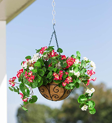 Everlasting Faux Red and White Geranium Hanging Basket with Metal Planter, Hanging Chains, and Coco Fiber Liner, For Indoor or Outdoor Use, 18 dia. x 12H