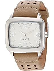 Nine West Womens NW/1777NTNT Silver-Tone and Natural Colored Perforated Strap Watch