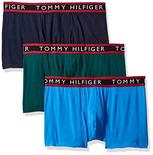 Stretch Cotton Boxer Trunk (Tommy Hilfiger Men's Underwear 3 Pack Cotton Stretch Trunks, Park Green, Medium)