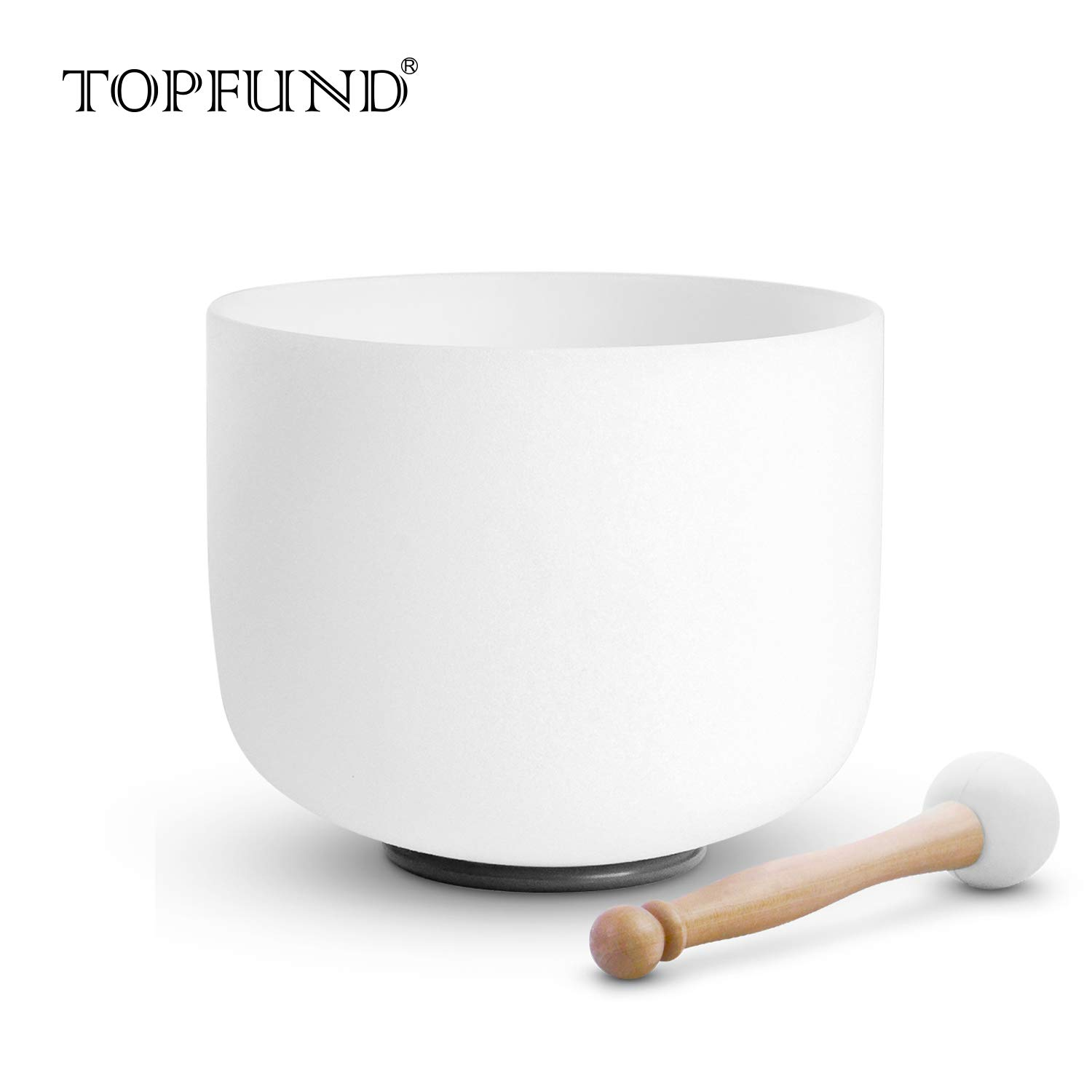 TOPFUND Singing Bowls A Note Crystal Singing Bowl Third Eye Chakra 8 inch (O ring and rubber mallet Included) by TOPFUND (Image #1)