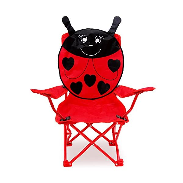 2x Chaises pliables pour enfant motif coccinelle couleur rouge/noir Jardin Camping Plage