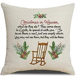 Christmas Farmhouse Home Decor MFGNEH Christmas in Heaven Farmhouse Christmas Decorations Throw Pillow Covers 18×18 Inch Christmas Decor Winter Holiday… farmhouse christmas pillow covers