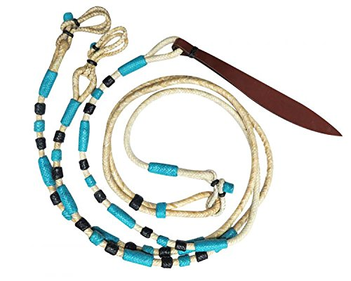 Showman Braided Natural Rawhide Romal Reins with Blue and Black Accents and Leather Popper by Showman