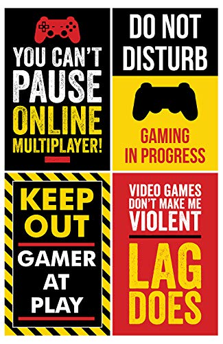 (Gaming Posters, Set of 4, 11x17 Inches, Video Game Artwork, Gamer Wall Art, Boys Room Kids Print Color)