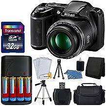 "Nikon Coolpix L34020MP cámara digital (Negro) + pilas AA & Charger + Transcend 32GB SDHC Tarjeta de memoria + 50"" Calidad trípode–Full Valor Bundle–Versión Internacional (no de garantía)"